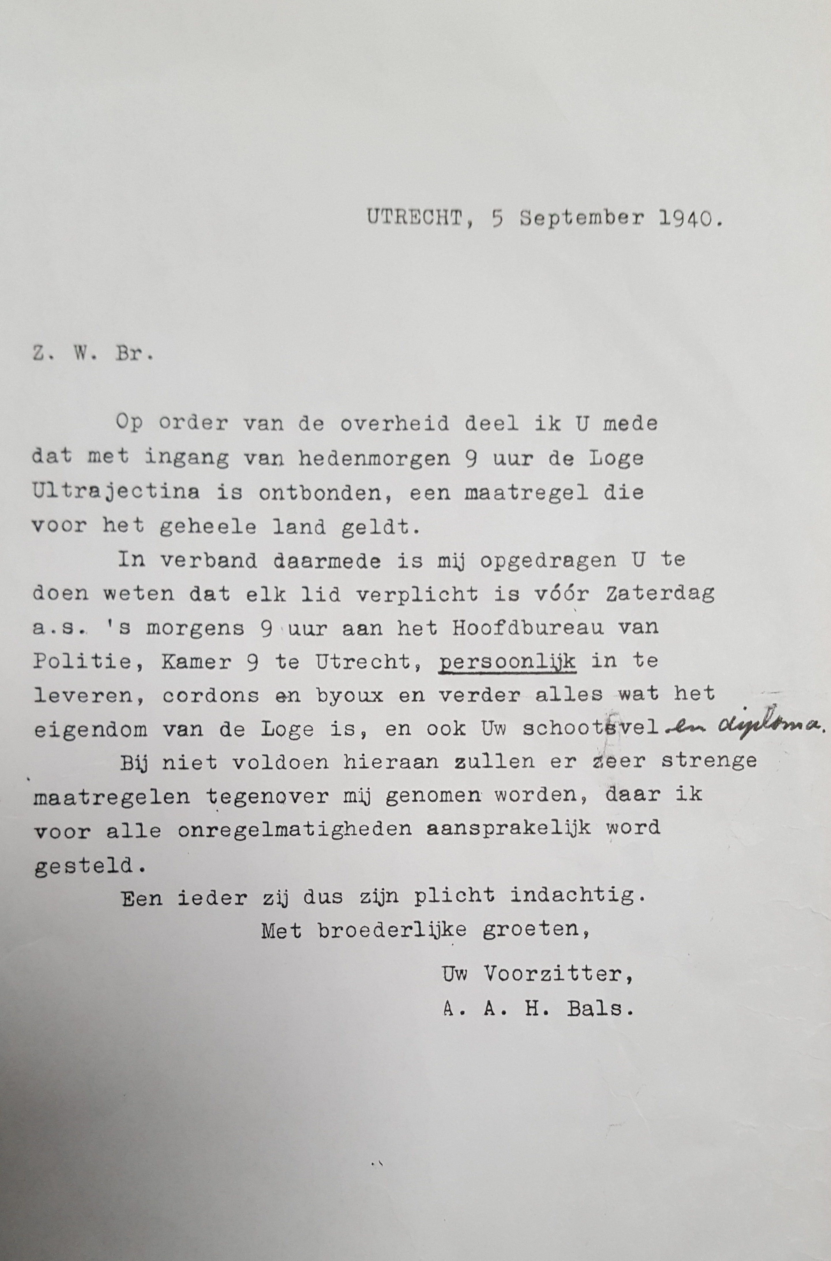 brief ontbinding Loge Ultrajectina1940